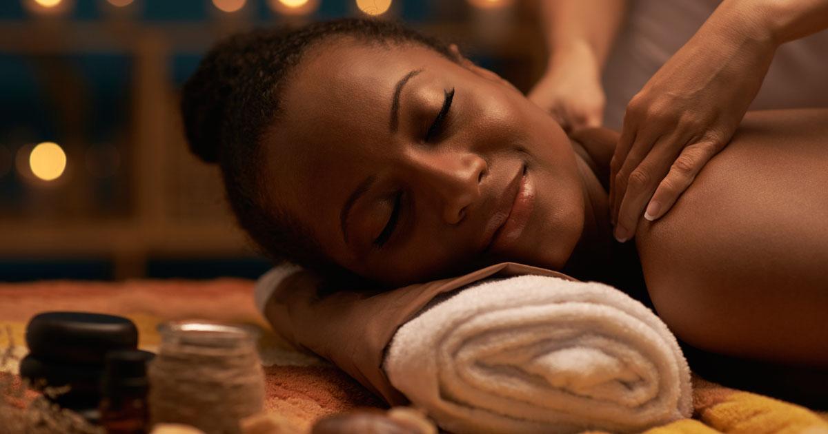 A woman is receiving a massage