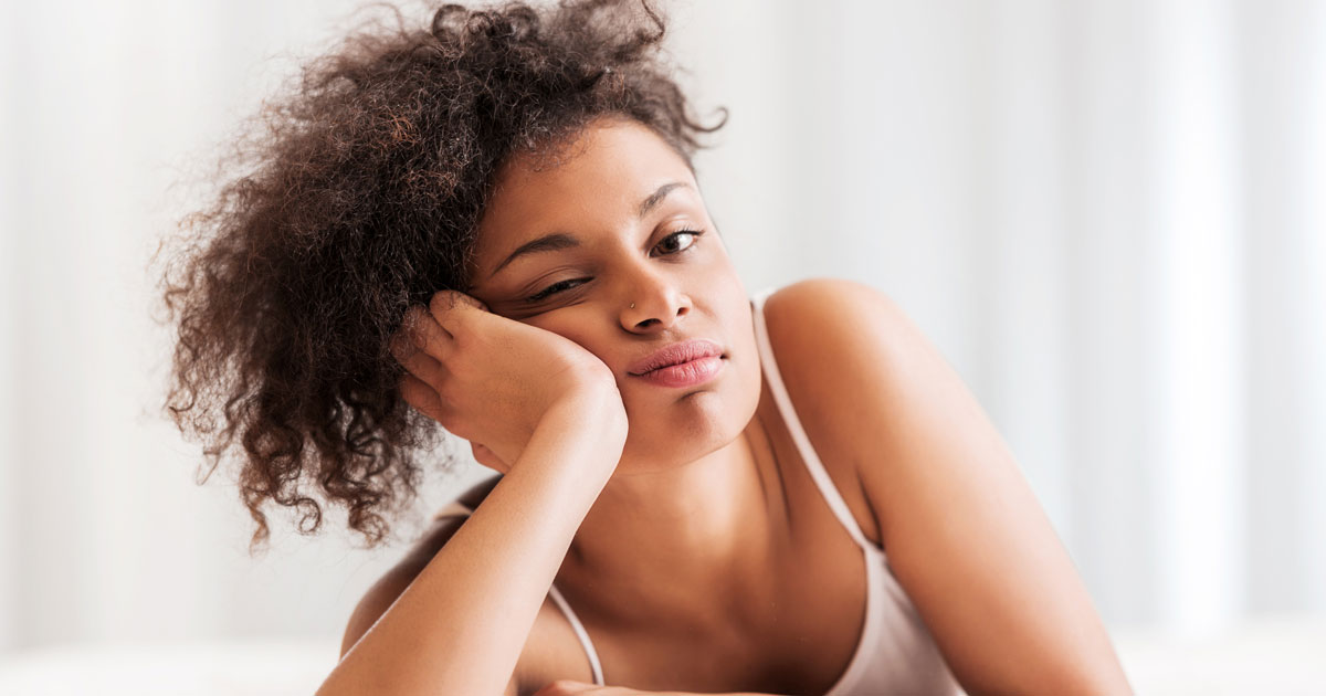 A woman is pouting