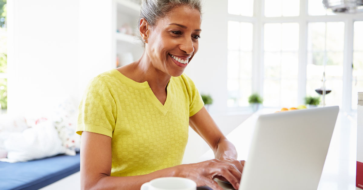 Woman is on her laptop