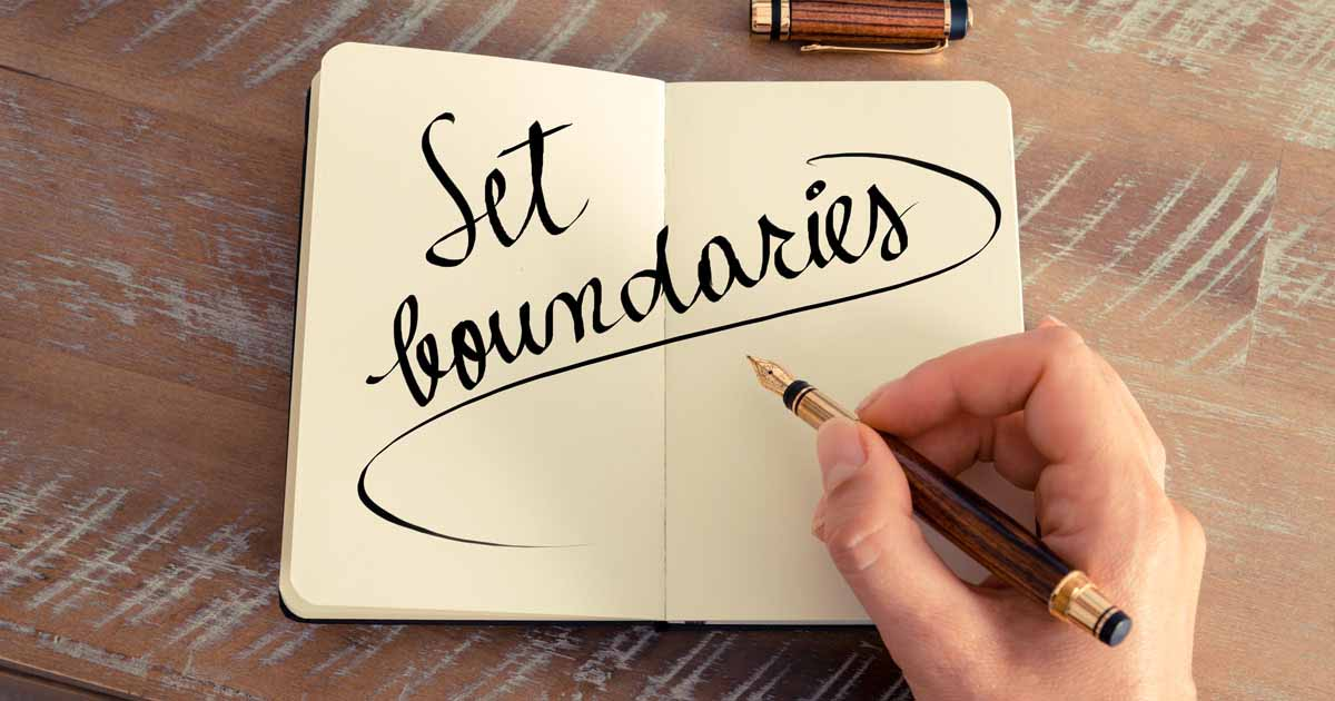 """Setting boundaries"" is written in a notebook"